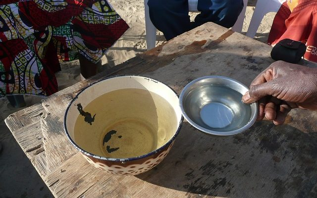 Deux bols avec de l'eau potable et non potable